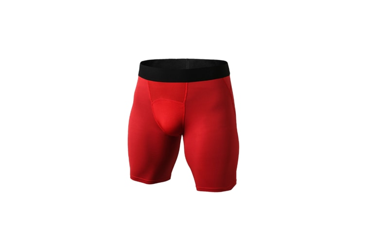 Men'S Compression Shorts Baselayer Cool Dry Sports Tights - Red Red S