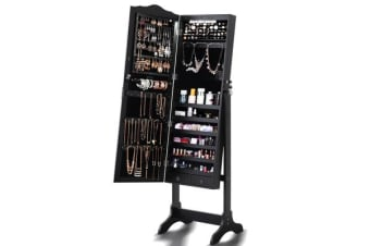 LED Light Full Length Mirror Jewellery Cabinet 3 Ways Stand - Black