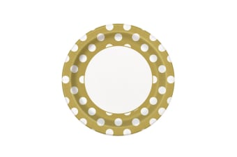 Unique Party Polka Dot Paper Plates (Pack Of 8) (Gold/White)