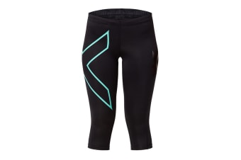2XU Women's 3/4 Compression Tights G1 (Black/Ice Green, Size M)
