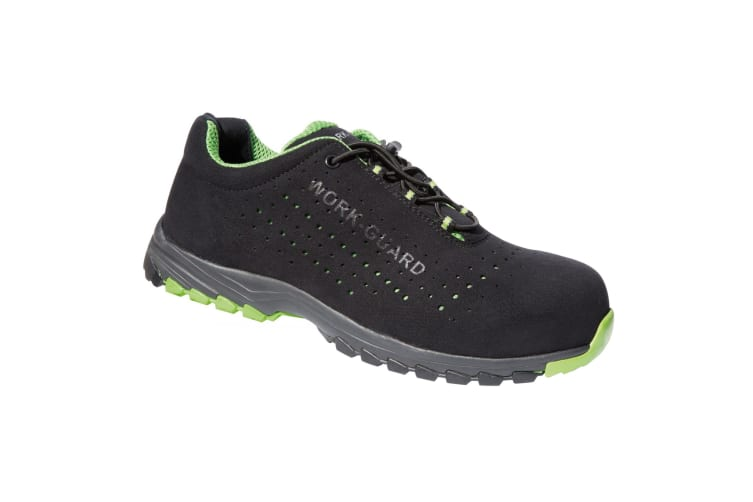 Result Workguard Mens Shield Safety Trainers (Black/Lime Green) (6 UK)