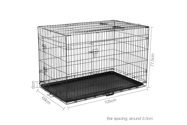 """42"""" Foldable Metal Dog Cage with Cover (Grey)"""