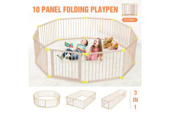 Large 10 Panel Folding Playpen Wooden Baby Playpen Toddler Kid Safety Yard