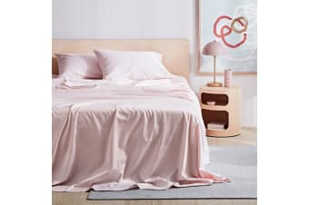 Canningvale 1000TC Sheet Set - Single Bed - Palazzo Linea  Heavenly Pink with Crisp White Stripe