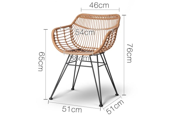 Set of 2 Rattan Dining Chair (Natural)