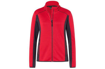 James and Nicholson Womens/Ladies Structure Fleece Jacket (Red/Carbon) (M)