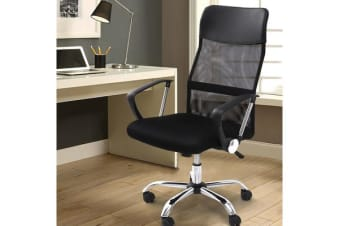 High Back Mesh Chair PU Leather Tilt Black