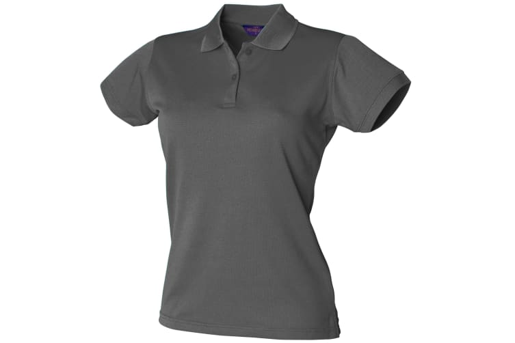 Henbury Womens/Ladies Coolplus® Fitted Polo Shirt (Charcoal Grey) (L)