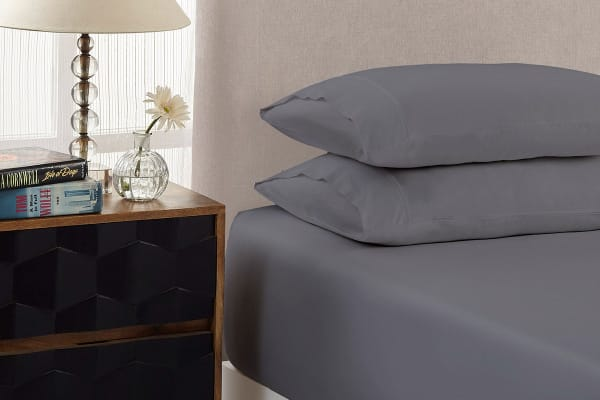 Royal Comfort 1500TC Cotton Blend 3-Piece Fitted Bed Sheet Set (Double, Dusk Grey)