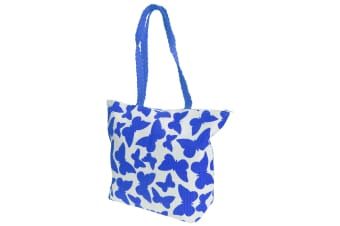 FLOSO Womens/Ladies Straw Woven Butterfly Print Top Handle Handbag (White/Blue)