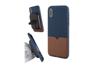 Evutec iPhone X & XS Northill Case with BONUS AFIX+ Magnetic Car Mount - Blue/Saddle