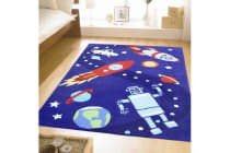 Space Ships and Robots Blue Rug