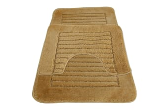 Eurobano Feel The Difference Bath And Pedestal Mat Set (Beige)