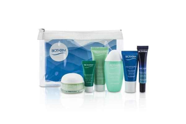 Biotherm Travel Set: Blue Therapy Serum + Aquasource Cream + Cleanser + Toning Lotion + Nuit Jelly + Deep Serum + Bag (6pcs+1bag)