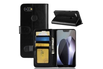 For Google Pixel 3XL Leather Wallet Case Black WildHorse Texture Cover Card Slot