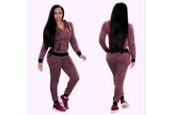 2 Piece Set Women Casual Pants Sets Sportswear Patchwork Long Sleeve Hooded Outfit Suit Jujube Red M