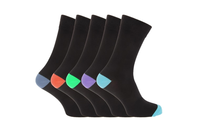 Pierre Roche Mens Cotton Rich Socks (Pack Of 5) (Black) (UK Shoe 6-11  EUR 39-46)