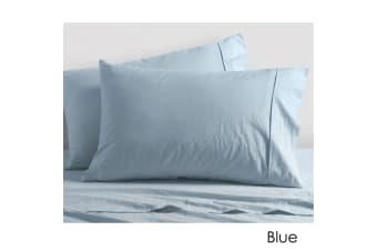 Washed Cotton Sheet Set Blue Queen