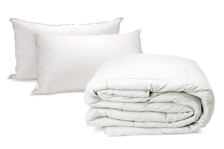 Goose 500GSM Quilt with Goose Pillow Twin Pack (Queen)