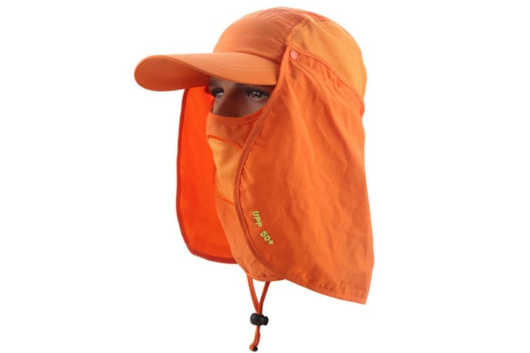 Outdoor Sun Protection Removable Neck&Face Flap Cover Hats Orange
