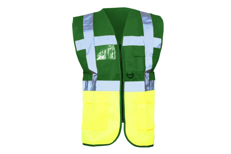 Yoko Hi-Vis Premium Executive/Manager Waistcoat / Jacket (Pack of 2) (Green/Hi Vis Yellow) (M)