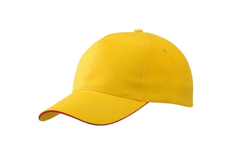 Myrtle Beach Adults Unisex 5 Panel Promo Sandwich Cap (Gold Yellow/Red) (One Size)