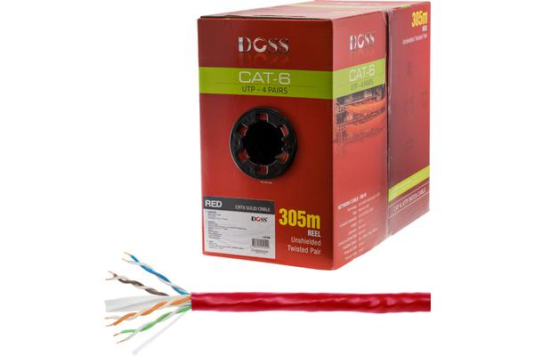 Doss 305M Cat6 Solid Cable Red