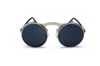 Retro Steam Punk Sunglasses Round Flip Up Metal Frame Sunglasses Women Men