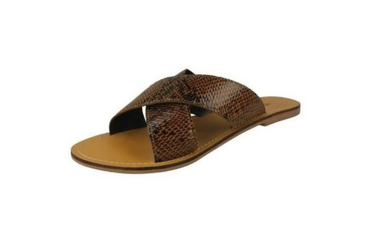 Leather Collection Womens/Ladies  Flat Cross Over Mules (Snake Print) (6 UK)