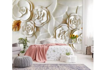 3D Embossed White Flower 145 Wall Murals Woven paper (need glue), XL 208cm x 146cm (WxH)(82''x58'')