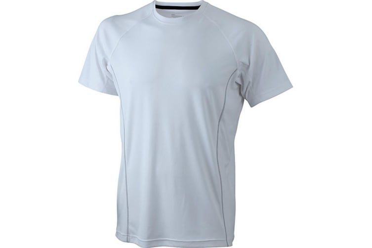 James and Nicholson Mens Running Reflex T-Shirt (White/White) (M)
