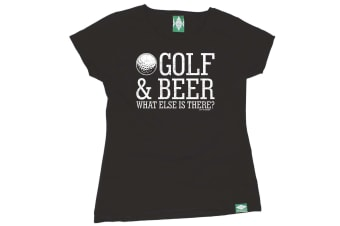 Out Of Bounds Golf Tee - Golf And Beer - (Small Black Womens T Shirt)