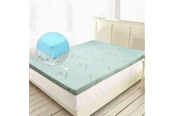 DreamZ 8cm Thickness Cool Gel Memory Foam Mattress Topper Bamboo Fabric Queen