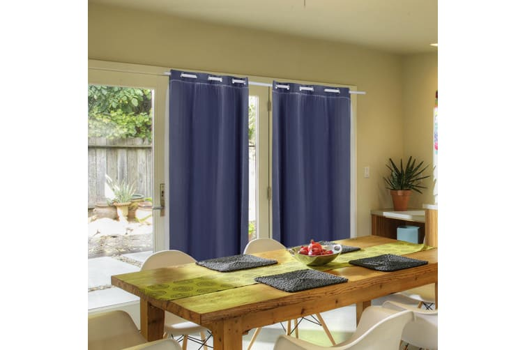 2X Blockout Curtains Panels Blackout 3 Layers Room Darkening Pure With Gauze NEW  -  Navy Blue140X160cm (WxH)