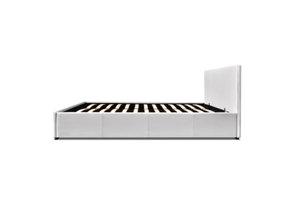 PU Leather Gas Lift Bedframe (White) Double