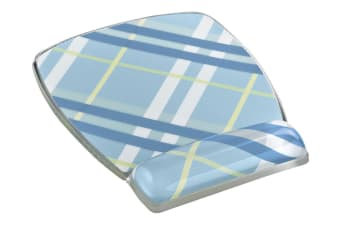 3M Mouse Pad with Gel Wrist Rest Blue Plaid (MW308-PL)