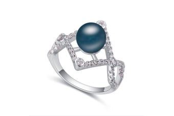 Luxury Crystal Pearl White Gold-Plated Metal Ring Navy