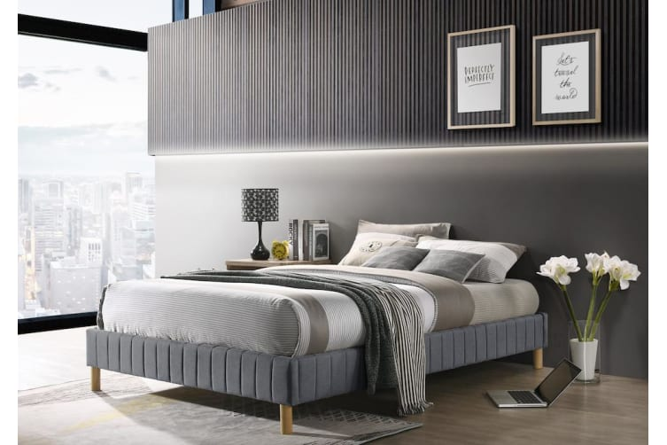 Contemplorary Platform Bed Base Fabric Frame with Timber Slat Queen in Light Grey