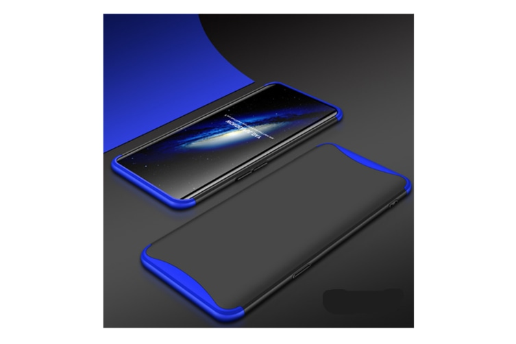 Frosted Shield Matte Plastic Ultra Thin Shockproof Case For Oppo Blue+Black A3