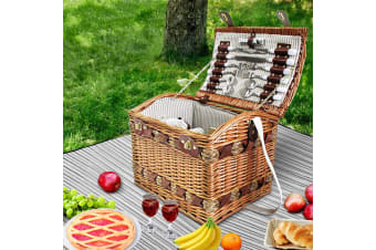 4 Person Wicker Picnic Basket Baskets Deluxe Insulated Blanket