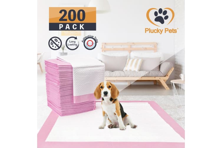 200 Pack Puppy Pet Dog Indoor Cat Toilet Training Pads(PINK)