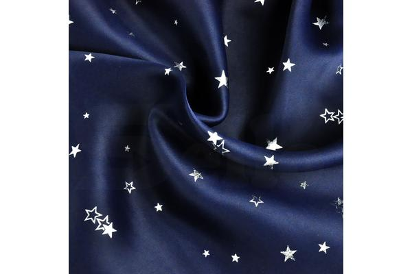 Single Panel Galaxy Star Blockout Curtains with 3 Layers Eyelet Pure Fabric Navy Blue 140X213cm