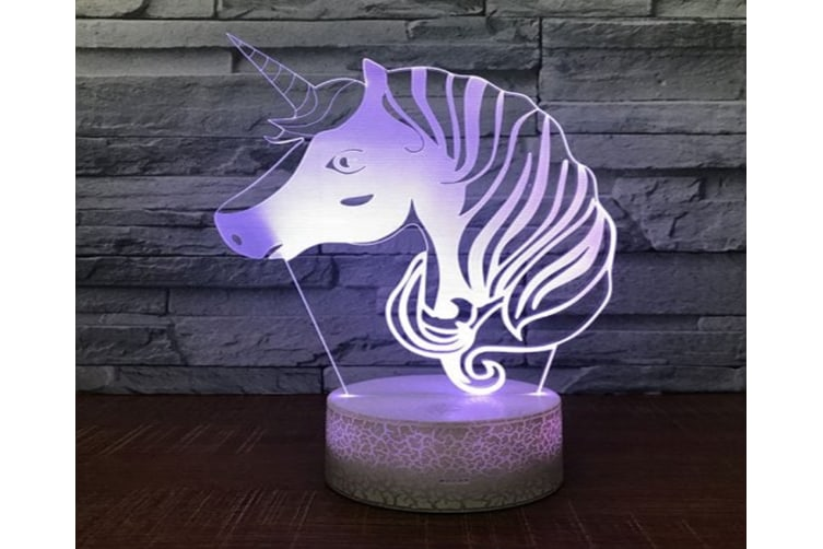 Unicorn Pattern Touch Colors Changing LED Night Light - Milk White