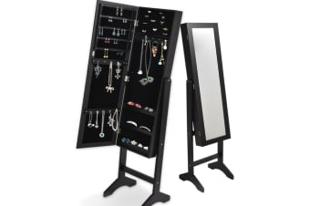 Mirror Two Doors Jewellery Cabinet Makeup Storage Jewelry Organiser Box Tall