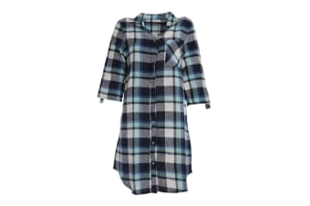 Follow That Dream Womens/Ladies Yarn Dyed Check Night Shirt (Black & Mint Check) (8-10)