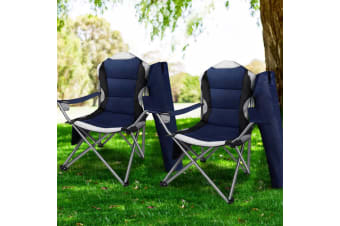 Weisshorn Set of 2 Folding Camping Arm Chairs Portable Outdoor Garden Fishing Picnic Holiday
