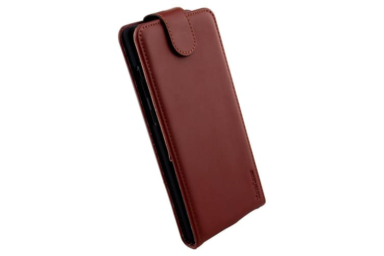 For Samsung Galaxy Note 8 Case iCL Flip Genuine Leather Cover Reddish Brown