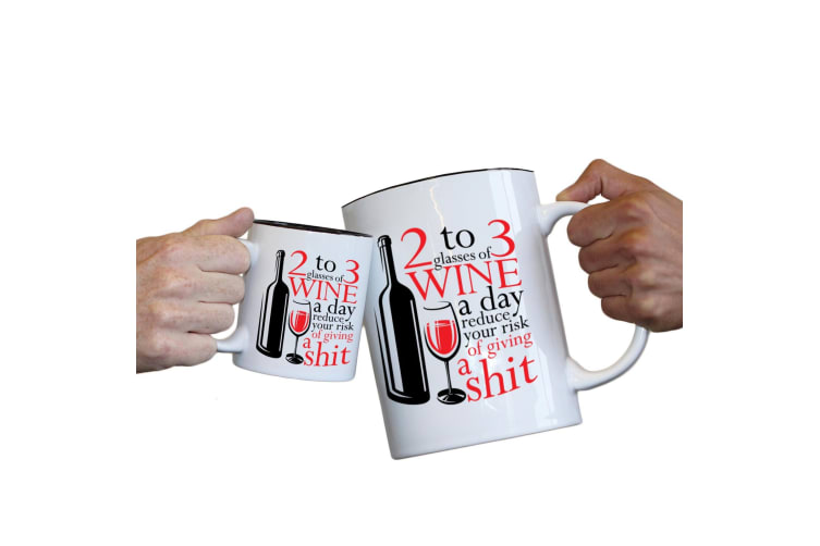 123T Novelty Funny Giant 2 Litre Mugs - Glasses Of Wine A Day Reduce