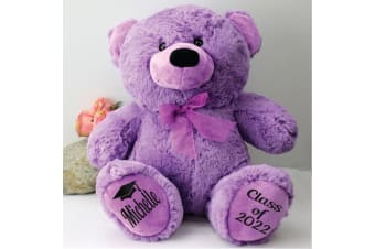 Graduation Personalised Teddy Bear 40cm Plush Lavendar