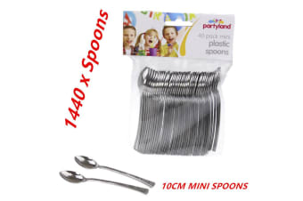 36 Packs Mini Silver Plastic Spoons Party Appetizer Cutlery Spoon Dessert Snack 10cm
